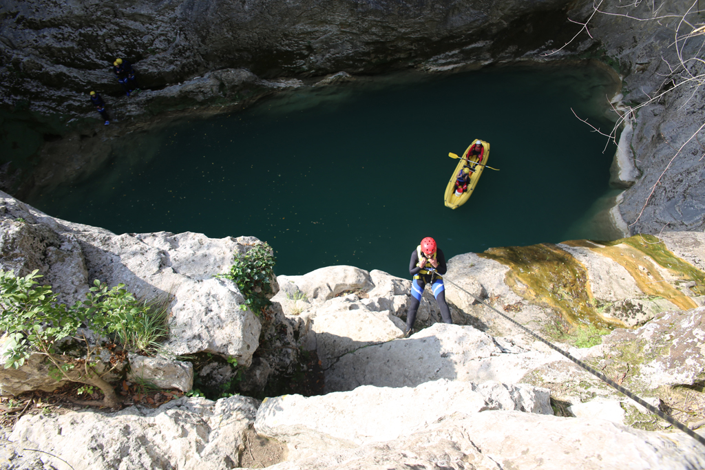 Abseiling near Small Gubavica waterfall