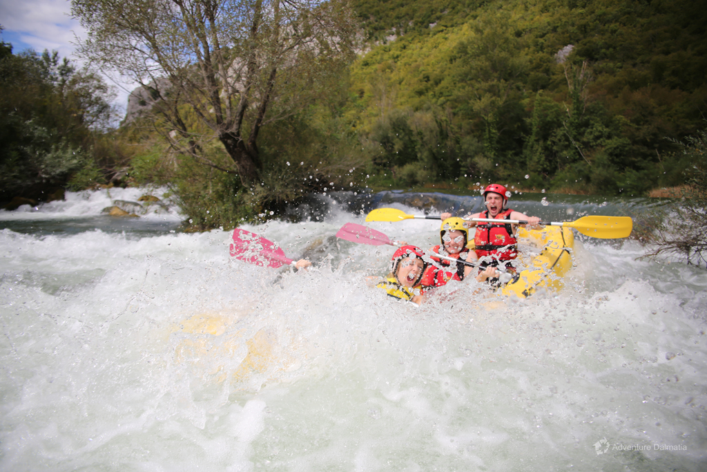 Brave enough to be on the first plate in a raft, White Water rafting on Cetina river near Split