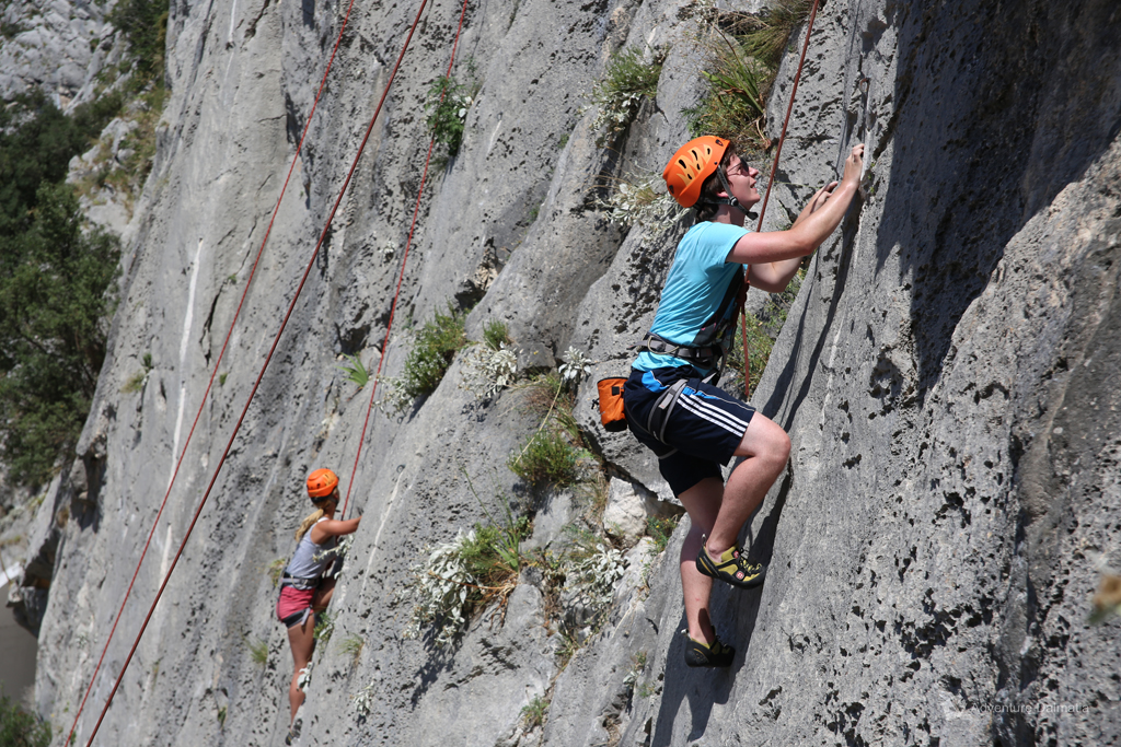 Climbing equipment - climbing shoes, a helmet and a harness provided by Adventure Dalmatia