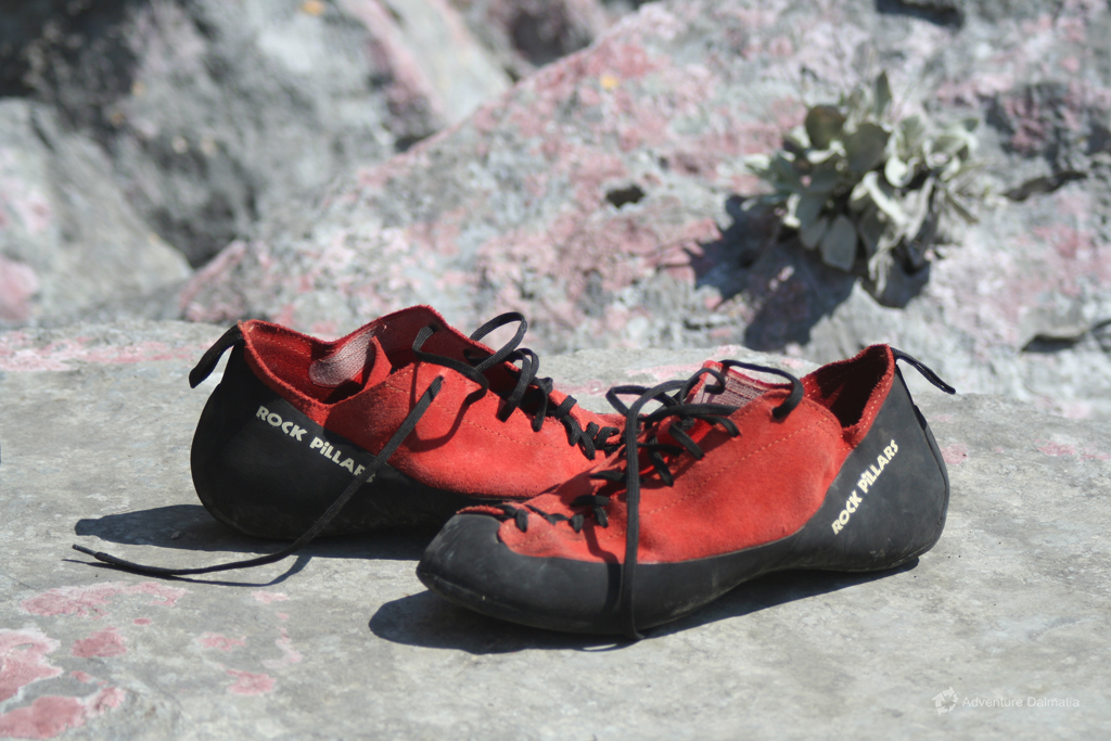 Climbing shoes, Rock climbing in Omiš town