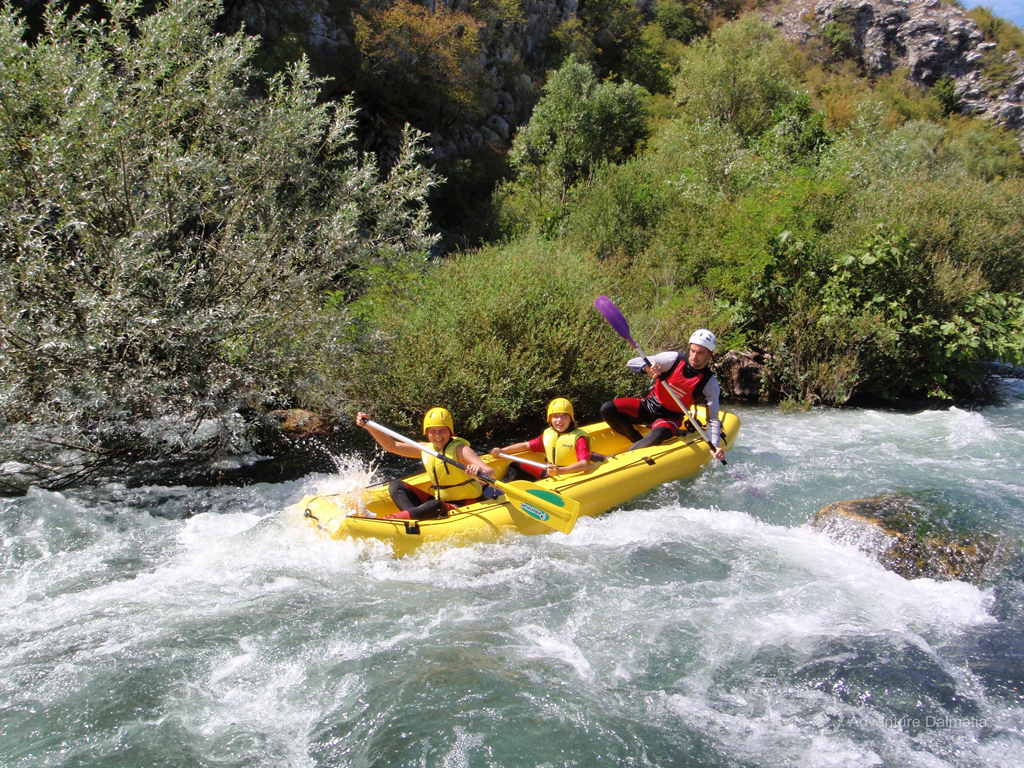 Excited to go down the rapids on Cetina river