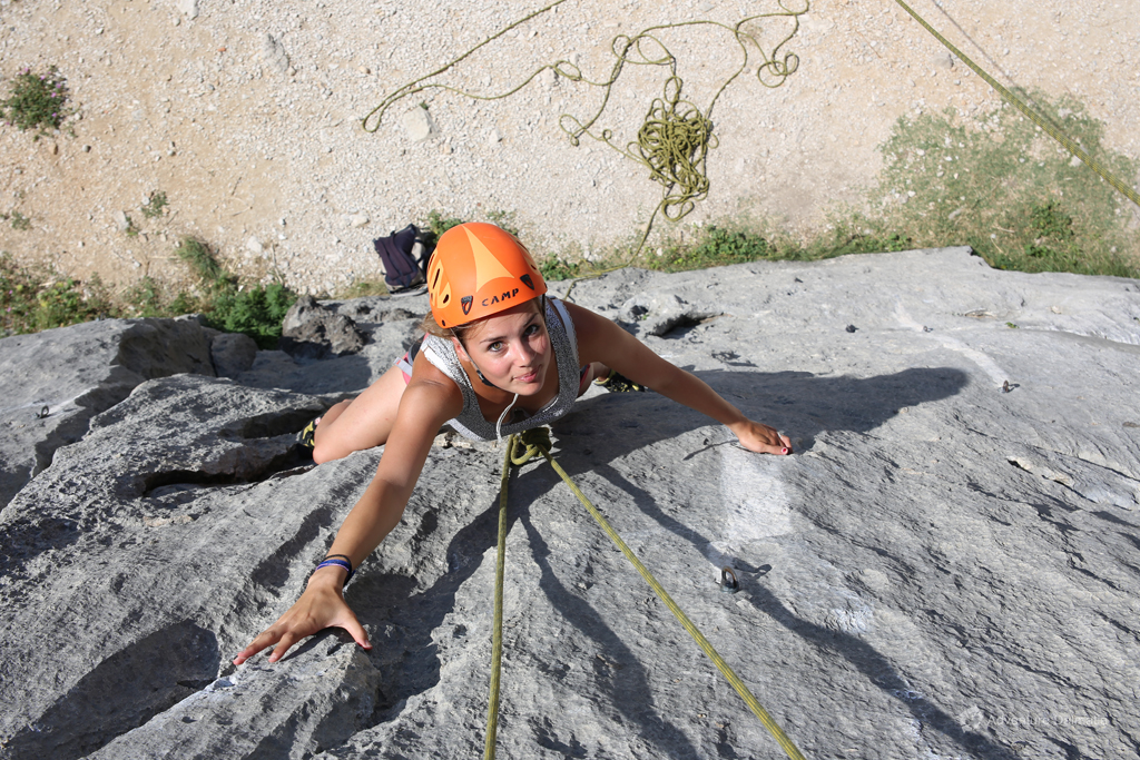 Following instructions on a climbing activity near the city of Split
