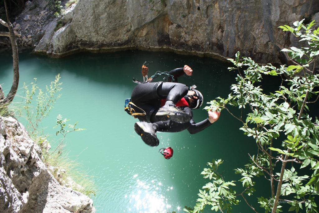 Great jump into the lake, Badnjevica canyon