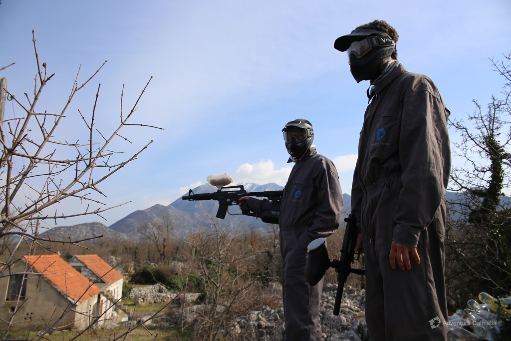 Paintball equipment includes a coverall, paintball marker, protection mask and 100 paint balls