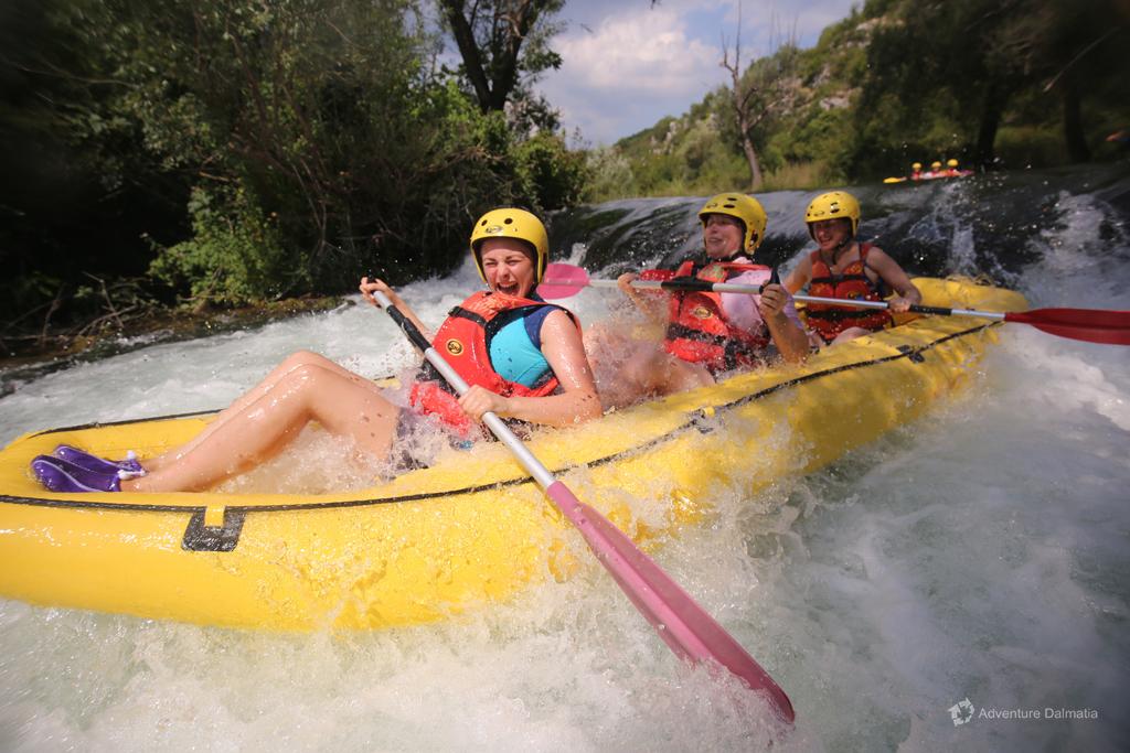 Sliding down the rapid
