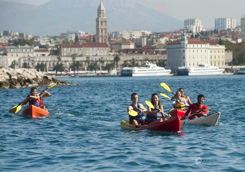 Kayaking in Split around Marjan hill overlooking the bell tower of the St Dujes Cathedral