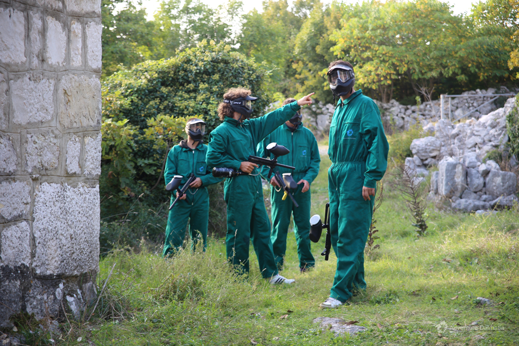 Making a good plan is essential for Paintball, stone village near the city of Split