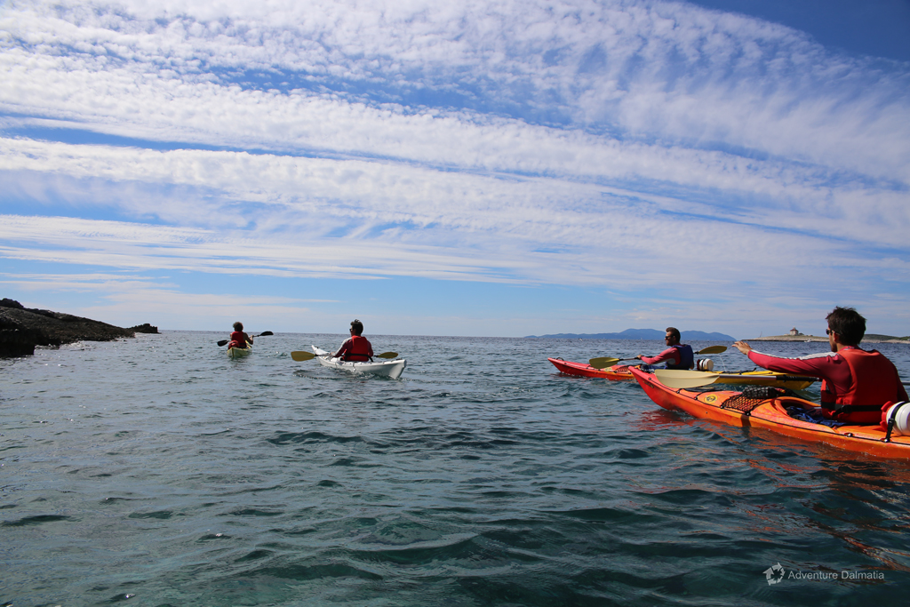 Paddling around Marjan hill with sit in kayaks