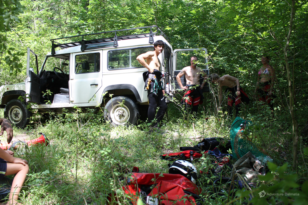 Preparing the equipment near the entrance to Badnjevica canyon