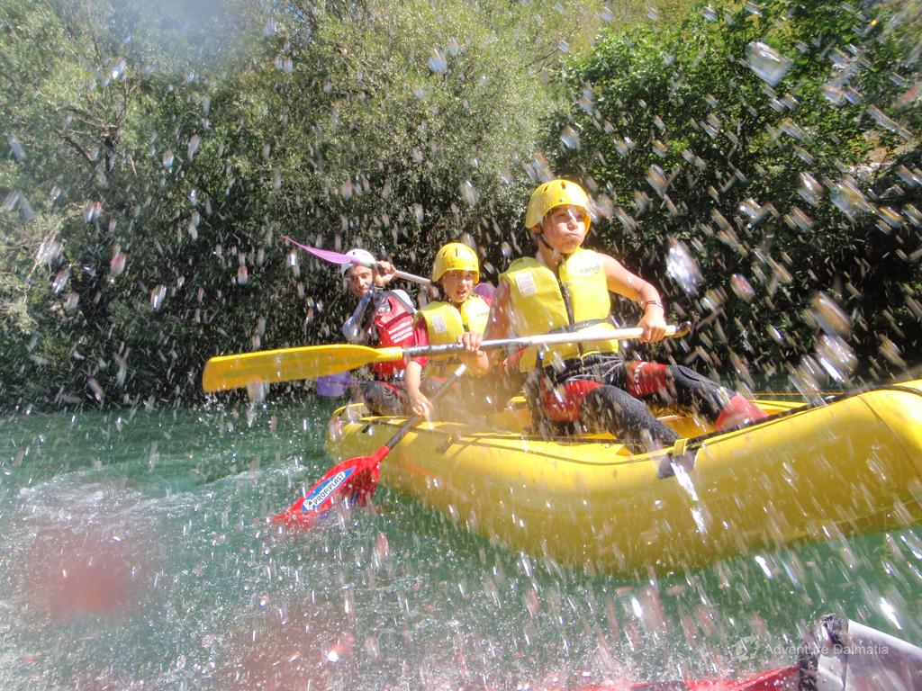 Water splashing on rafting tour