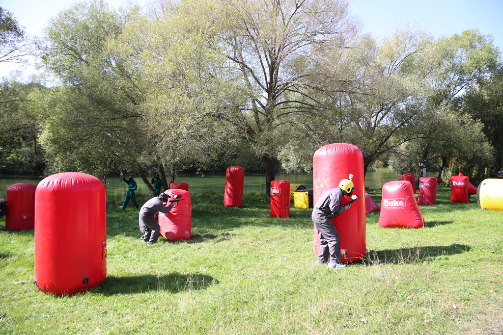 Set-up paintball field near Cetina river