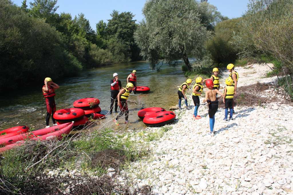 Getting ready for river tubing on Cetina